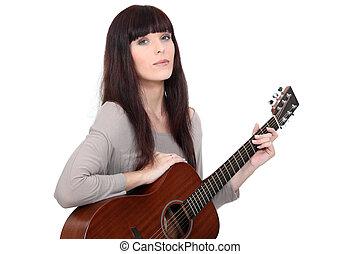 ギター, 音響, 女, 遊び