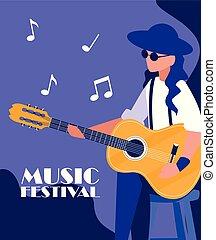 ギター, 音響, 音楽家, 遊び, 人