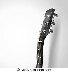 ギター, 音響, 頭, ベクトル, 背景