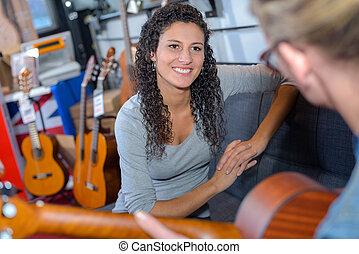 ギター, 1(人・つ), 女性, 遊び, 2