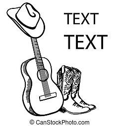ギター, boots., 引かれる, 帽子, 白, グラフィック, イラスト, カウボーイ, music., テキスト, 音響, 国, ベクトル, 隔離された, 手