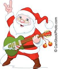 ギター, claus, プレーする, santa