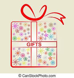 ギフトを与えること, 祝いなさい, giftbox, プレゼント, ショー