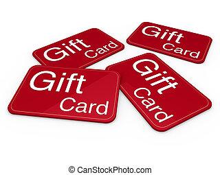ギフトカード, 赤, 3d