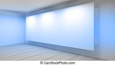 ギャラリー, 部屋, 空, 3d