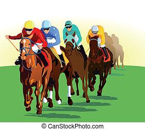 ギャロップする, 競争, 馬