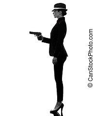ギャング, 女, キラー, シルエット, 銃