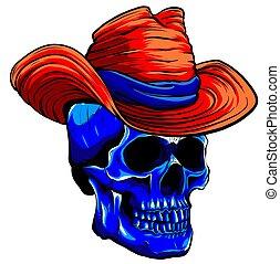 ギャング, 葉巻き, 死, 頭, 頭骨, tattoo., ベクトル, 帽子