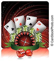 ギャンブル, イラスト, ∥で∥, カジノ, 要素