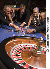 ギャンブル, カジノ, グループ, 友人
