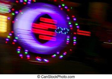 ギャンブル, カジノ, 動きぼやけ, カラフルである, ライト