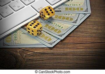 ギャンブル, コンピュータ, ドル, 現金, 木, さいの目に切る, 背景, キーボード