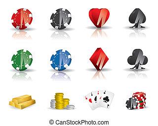 ギャンブル, ポーカー, セット, -, アイコン