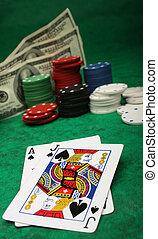 ギャンブル, 勝利, チップ, ブラックジャック, 手