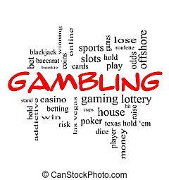 ギャンブル, 単語, 雲, 概念, 中に, 赤, 帽子