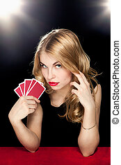 ギャンブル, 女の子, 若い, 遊び