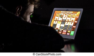 ギャンブル, 常習している, 人, の前, オンラインで, カジノ, スロットマシン