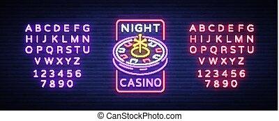 ギャンブル, 旗, 印, テキスト, カジノ, ネオン 印, ルーレット, 明るい, ベクトル, gambling., 広告板, 広告, 夜, カジノ, ロゴ, 明るい, 編集, style., 機械, illustration.