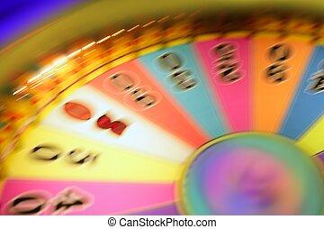 ギャンブル, 白熱, ルーレット, カラフルである, blurry