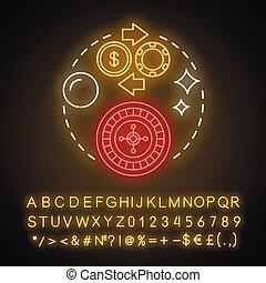 ギャンブル, icon., アルファベット, entertainment., chance., vegas, idea., 概念, ネオンライト, カジノ, 幸運, wheel., illustration., 白熱, 隔離された, 賭け, 数, symbols., オンラインで, ベクトル, ゲーム, 印, ルーレット