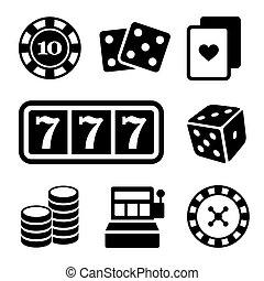ギャンブル, set., ベクトル, アイコン