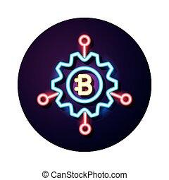 ギヤ, スタイル, ネオン, 通貨, crypto, bitecoin