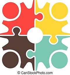 ギヤ, チームワーク, 人々, puzzle., デザイン, ロゴ