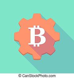 ギヤ, 印, アイコン, 影, bitcoin, 長い間