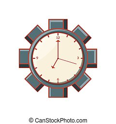 ギヤ, 時計, 壁, 隔離された, 形, アイコン