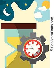 ギヤ, 時間, 時計, 仕事, ガラス, 時間