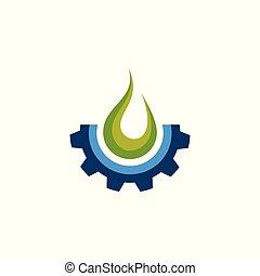 ギヤ, 火, 要素, デザイン, ロゴ, アイコン