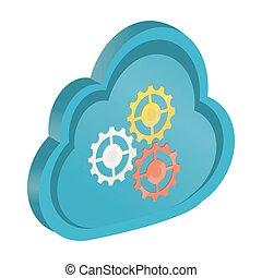 ギヤ, 計算, シンボル, 3d, 雲, アイコン