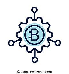 ギヤ, crypto, bitecoin, スタイル, 線, 通貨