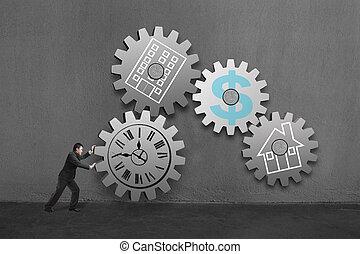 ギヤ, drawing., お金, オフィス, 時計, 大きい, コンクリート, ビジネスマン, 連結しなさい, それぞれ, 回転, 家, 他