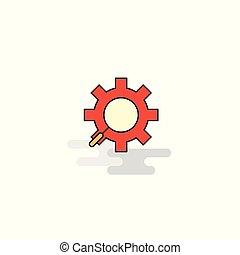 ギヤ, icon., ベクトル, 平ら