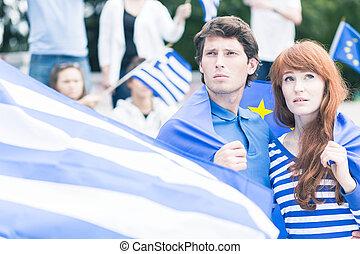 ギリシャ人, 若い, 心配した
