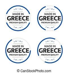 ギリシャ語, アイコン, ステッカー, 背景, 優れた, 作られた, 単純である, 4, 白, タイトル, 隔離された, セット, シンボル, イラスト, ギリシャ, ラベル, 品質, ベクトル, 英語, 星, internation