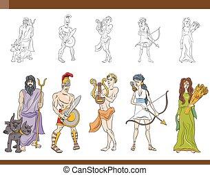 ギリシャ語, セット, イラスト, 神