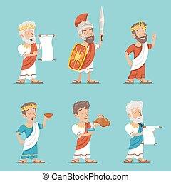 ギリシャ語, ローマ人, レトロ, 型, 特徴, アイコン, セット, 漫画, デザイン, ベクトル, イラスト