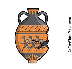 ギリシャ語, 白, セラミック, ギリシャ, 隔離された, イラスト, 平ら, 古代, ベクトル, bowl., 骨董品, バックグラウンド。, amphora