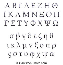 ギリシャ語, 3d, 銀, アルファベット