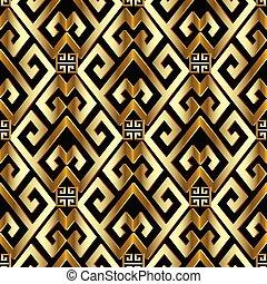 ギリシャ語, pattern., seamless, 金, 3d