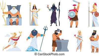 ギリシャ語, poseidon, gods., 女神, 特徴, 背景, 隔離された, ares, 漫画, ベクトル, 古代, zeus, 白, 神話, 神