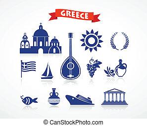 ギリシャ, -, アイコン, セット