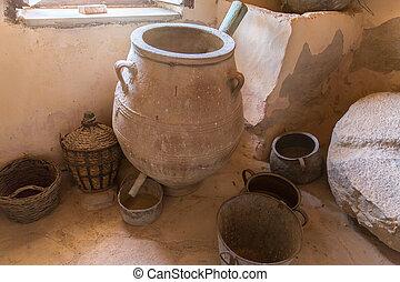 ギリシャ, 人工物, messara, 陶器, 粘土, 古代, 修道院, vase), crete, 谷, 博物館, ...