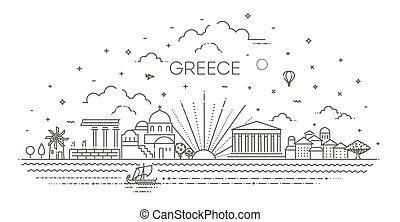 ギリシャ, 線である, スカイライン, スタイル, イラスト, ベクトル