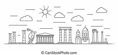 ギリシャ, 線, パノラマ, スタイル