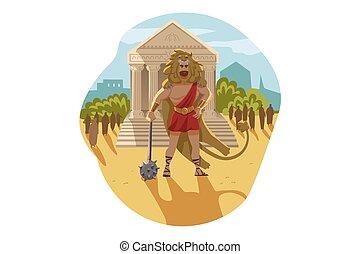 ギリシャ, heracles, 概念, 神, olympus, 宗教, 神話