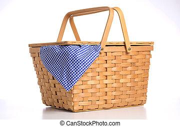 ギンガム, テーブルクロス, 青, 枝編み細工, ピクニック, 白い背景, バスケット