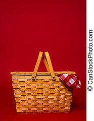 ギンガム, ピクニック, ブラウン, スペース, 枝編み細工, 背景, バスケット, テーブルクロス, コピー, 赤